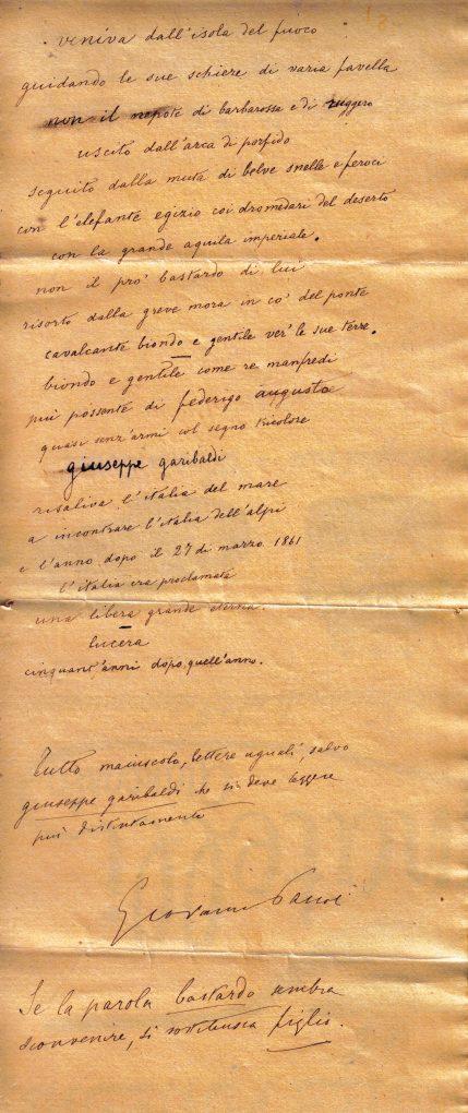 Bozza di Pascoli per epigrafe su Garibaldi
